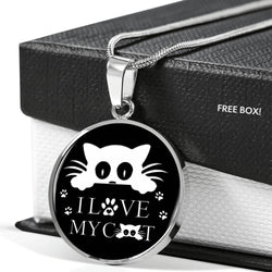 """ I Love My Cat"" Print Circle Pendant Luxury Necklace-Free Shipping"