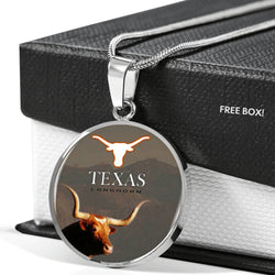 Texas Longhorn Cattle (Cow) Print Circle Pendant Luxury Necklace-Free Shipping