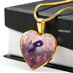 Bearded Vulture Bird Art Print Heart Pendant Luxury Necklace-Free Shipping