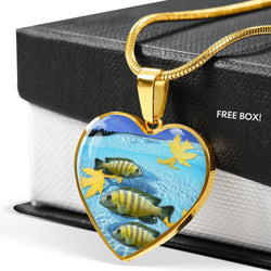 Afra Cichlid Print Heart Charm Necklace-Free Shipping