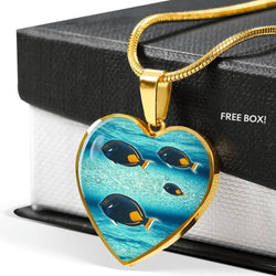 Achilles Tang Fish Print Heart Charm Necklace-Free Shipping