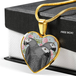 African Grey Parrot Print Heart Pendant Luxury Necklace-Free Shipping
