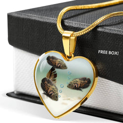 Oscar Fish Print Heart Pendant Luxury Necklace-Free Shipping