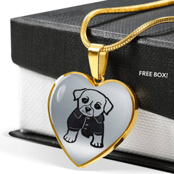 Cute Dog Art Print Heart Pendant Luxury Necklace-Free Shipping