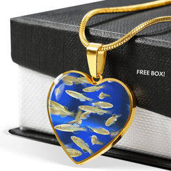 Zebrafish Fish Print Heart Pendant Luxury Necklace-Free Shipping
