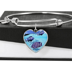 Afra Cichlid Fish Print Heart Pendant Bangle-Free Shipping