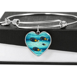 Achilles Tang Fish Print Heart Pendant Luxury Bangle-Free Shipping