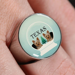 Yorkshire Terrier (Yorkie) Texas Print Signet Ring-Free Shipping