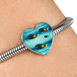 Achilles Tang Fish Print Heart Charm Steel Bracelet-Free Shipping