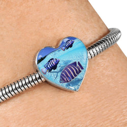 Afra Cichlid Fish Print Heart Charm Steel Bracelet-Free Shipping