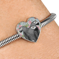 African Grey Parrot Print Heart Charm Steel Bracelet-Free Shipping
