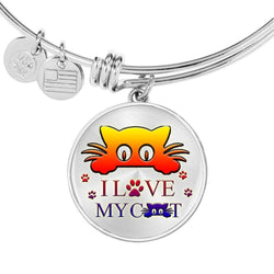 """ I Love My Cat"" Print Circle Pendant Luxury Bangle-Free Shipping"