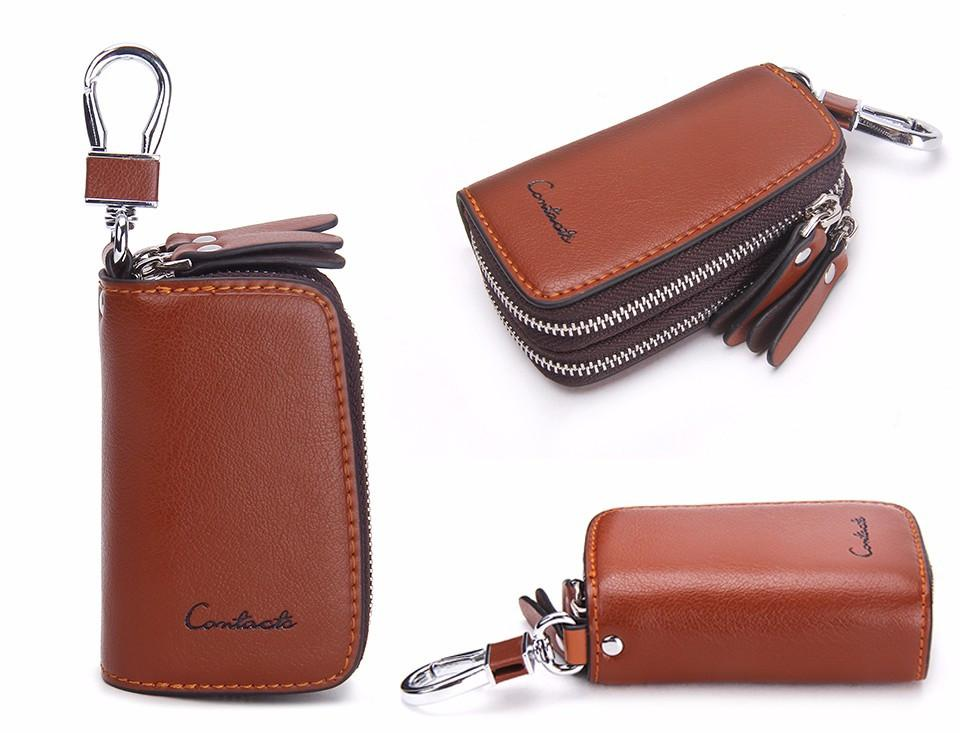 cb4410e52d1 Classic New Double Zip Men's Genuine Cow Leather Car Key Holder  Multifunction Motor Key Case