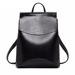Backpacks - Leather Teenage Female School Shoulder Bag Pack