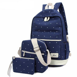 Backpacks - Women's 3 Pcs/set Canvas Backpack Computer Travel Bag