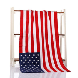 Bathroom - 4TH Of July American National Flag Bath Beach Soft Blanket Towel