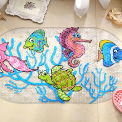 Bathroom - Cartoon Anti-Slip PVC Bath Mat With Suction Cups Seaworld Turtle Fish Carpet Used For Bathroom