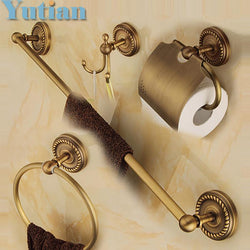 Bathroom - Solid Brass Bathroom Accessories Set - Robe Hook, Paper Holder, Towel Bar, Soap Basket Bathroom Sets