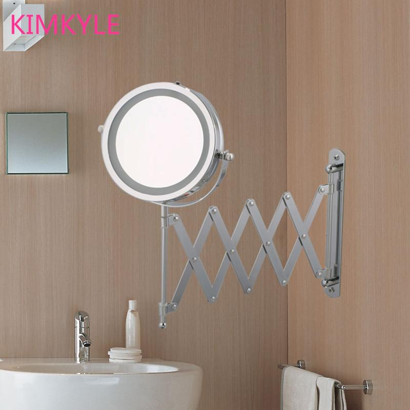 Space Saver 7 inches High Definition Bathroom Mirror LED makeup mirror w/5X  magnification