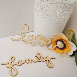 "Bathroom - Wooden Letters ""Love & Family"" Home Decorations"