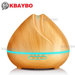 Bedroom - 400ml Aroma Essential Oil Diffuser Ultrasonic Air Humidifier With Wood Grain 7 Color Changing LED