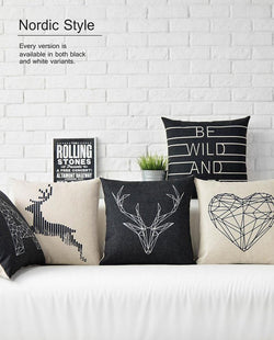 Bedroom - Animal Black & White Linen Cotton Cushions Cover And Pillows