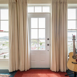 Bedroom - Solid Colors Blackout Faux Linen Modern Curtains (Hook Top)
