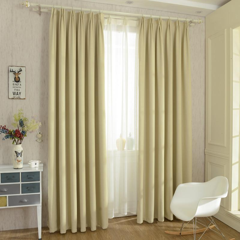 Solid Colors Blackout Faux Linen Modern Curtains (Rod Pocket)