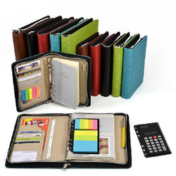 Cases - Customized Leather A5 & A6 Business Zip Bag Planner Notebook