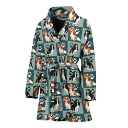 Caveliar King Charles Spaniel Dog Pattern Print Women's Bath Robe-Free Shipping