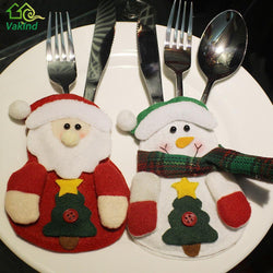 Christmas - 3Pcs/lot Christmas Stocking Bags Dining Table Knife Fork Holder Navidad Santa Claus Christmas Decoration Party Supplies