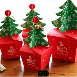 Christmas - Christmas Tree Design 12pcs Candy Paper Box Gifts Chocolate Cookie Packaging Party Favors
