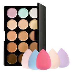 Cosmetics - 15 Colors Contour Face Cream Makeup Concealer Palette + Sponge Puff