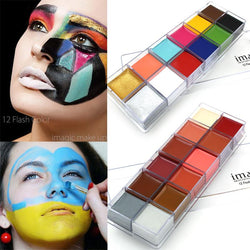 Cosmetics - IMAGIC 12 Colors Flash Tattoo Face Body Paint Oil Painting Art Makeup