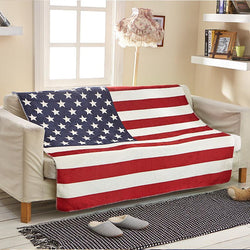 Cozzy Thicker Soft Warm Sherpa Fleece Couch Throw  (USA American Flag)  70x100 130x160cm