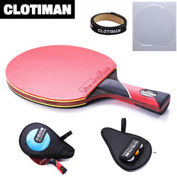 Exercise - Carbon Table Tennis Racket With Rubber Pingpong Paddle Short Handle