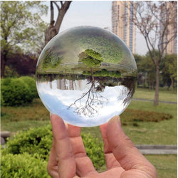Family/Den - 80mm Rare Clear Asian Quartz Feng Shui Crystal Ball Sphere Table Decor