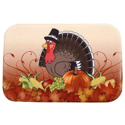 Family/Den - Antiskid Coral Fleece Carpet Home Decor Doormat (Thanksgiving Turkey)