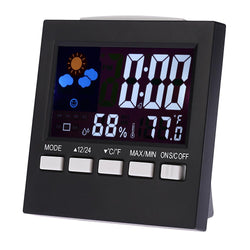 Family/Den - Digital Thermometer Hygrometer Clock LCD Alarm Snooze Function Calendar Weather Station Display