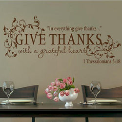 Family/Den - Give Thanks With A Grateful Heart Thanksgiving Wall Vinyl Decal (Bible Verse)