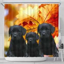 Black Labrador Print Shower Curtains-Free Shipping