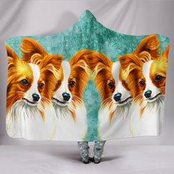 Papillon Dog Art Print Hooded Blanket-Free Shipping