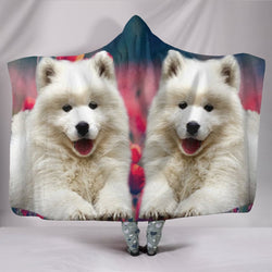 Samoyed Dog Print Hooded Blanket-Free Shipping