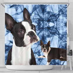 Boston Terrier Print Shower Curtain-Free Shipping