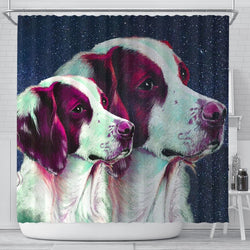 Brittany Dog Art Print Shower Curtains-Free Shipping