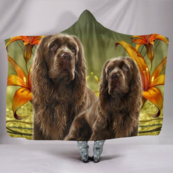 Cute Sussex Spaniel Print Hooded Blanket-Free Shipping