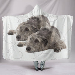 Irish Wolfhound Dog Print Hooded Blanket-Free Shipping
