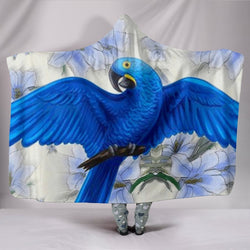 Hyacinth macaw Parrot Print Hooded Blanket-Free Shipping