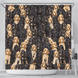 Cocker Spaniel In Lots Print Shower Curtain-Free Shipping