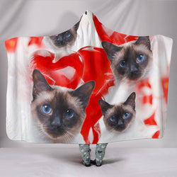 Siamese Cat Print Hooded Blanket-Free Shipping